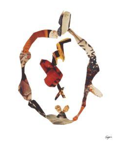 L'anneau de Pablo P.<br/>Collage 49 cm x 62 cm 1988