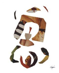 Arc de triomphe en apesanteur<br/>Collage 48 cm x 74 cm 1997
